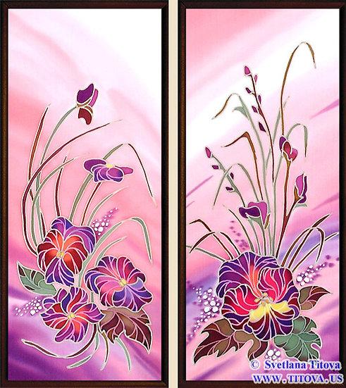 """Silk Painting. Size 18""""h x 8""""w, 18""""h x 8""""w"""