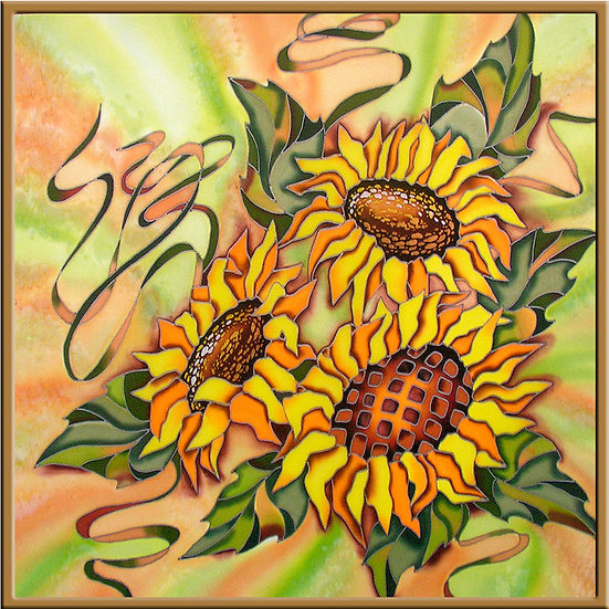 "Sunflowers. Silk Painting. Size 28""h x 28""w"
