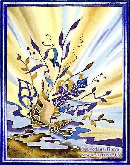 "Ultramarine. Silk Painting. Size 18""h x 14""w"