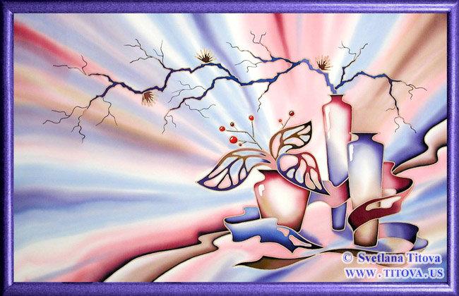 "Illumination. Silk Painting. Size 20""h x 32""w"