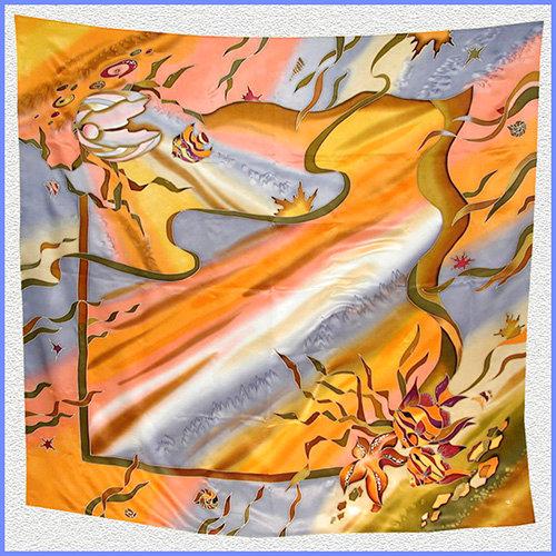 Hand painted silk shawl (SH032)