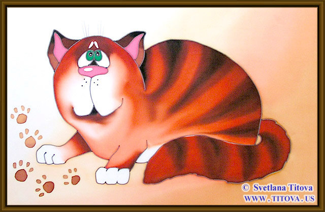 "Cat. Silk Painting. Size 12""h x 20""w"