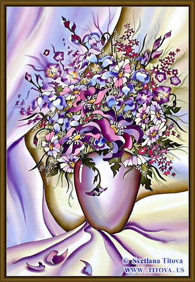 """Lilac Bouquet. Silk Painting. Size 26""""h x 18""""w"""
