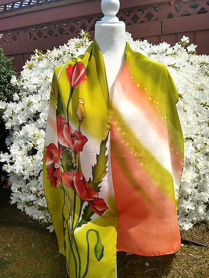 Hand Painted Silk Scarf (S-0025)