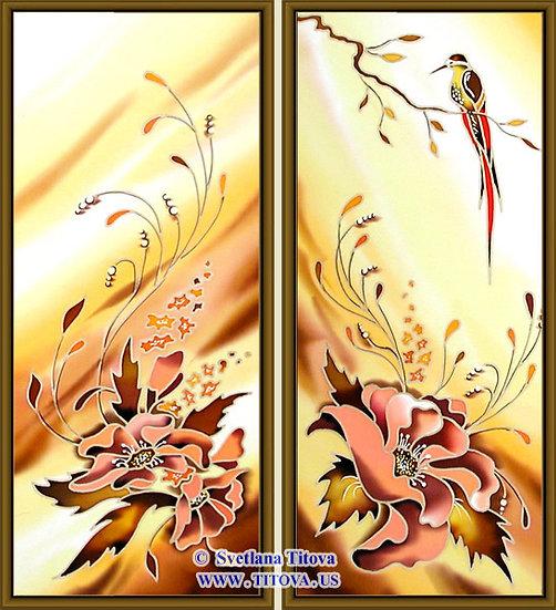 "Bird of Paradise. Silk Painting. Size 18""h x 8""w, 18""h x 8""w"
