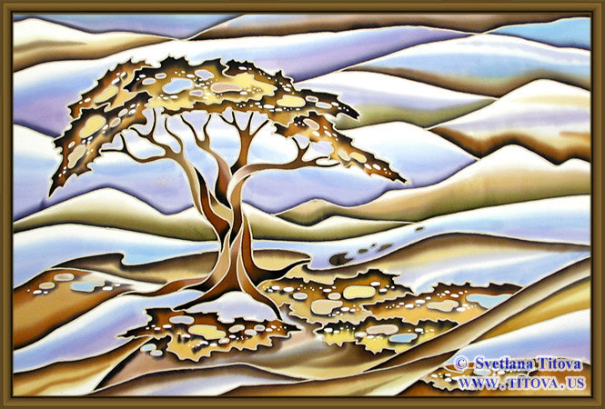 """Middle Earth. Silk Painting. Size 18""""h x 24""""w"""