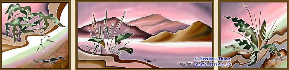 """Islands. Silk Painting. Size 12""""h x 12""""w, 12""""h x 24""""w, 12""""h x 12""""w"""