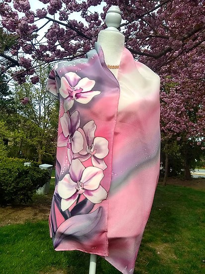 Orchids. Hand Painted Silk Scarf