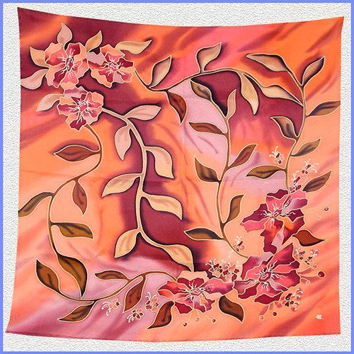 Hand painted silk shawl (SH034)