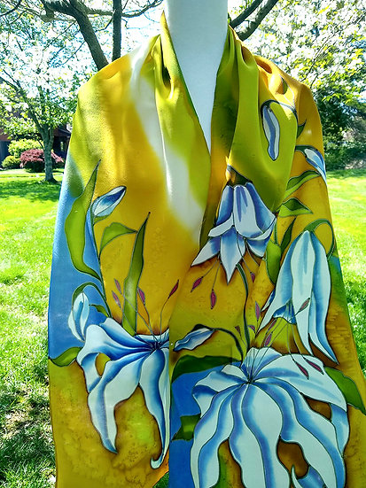 Hand Painted Silk Scarf (S-0029)