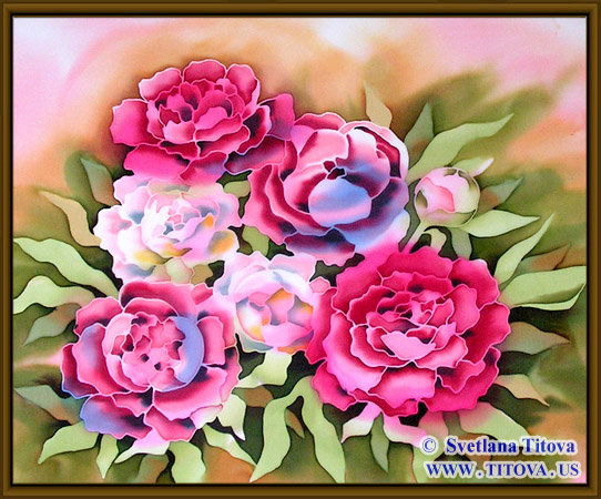 "Peonies. Silk Painting. Size 18"" h x 22"" w"