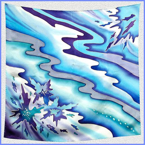 Hand painted silk shawl (SH022)