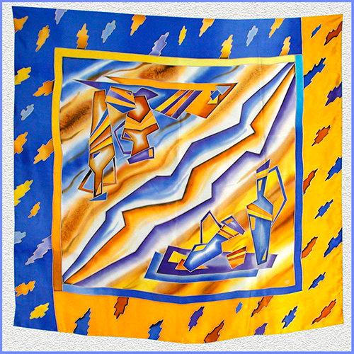 Hand painted silk shawl (SH018)