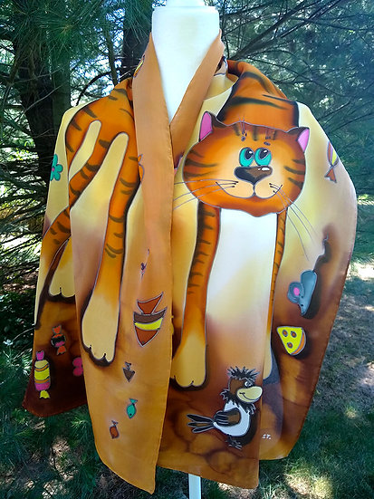"""Hand Painted Silk Scarf """"Cats"""" (S-0009)"""