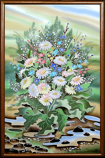 "Daisies. Silk Painting. Size 24""h x 16""w"
