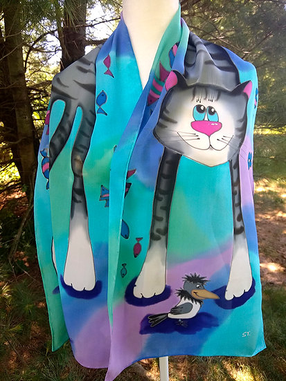 """Hand Painted Silk Scarf """"Cats"""""""