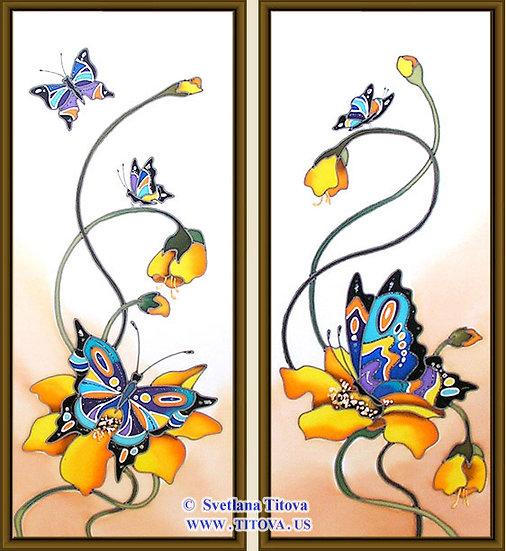 """Butterflies. Silk Painting. Size 18""""h x 8""""w, 18""""h x 8"""""""