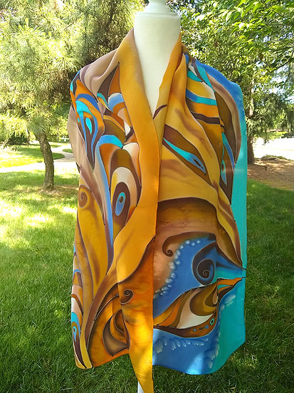 Hand Painted Silk Scarf (S-0006)