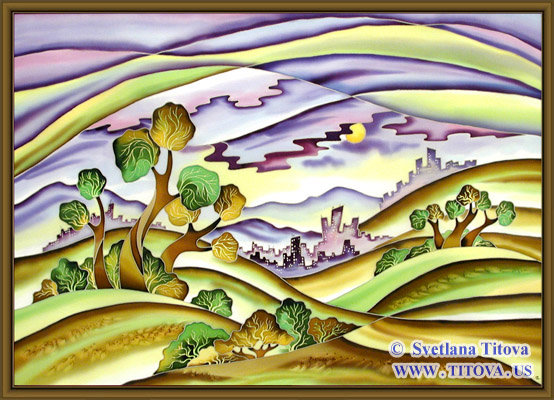"City on the Hills. Silk Painting. Size 24""h x 34""w"