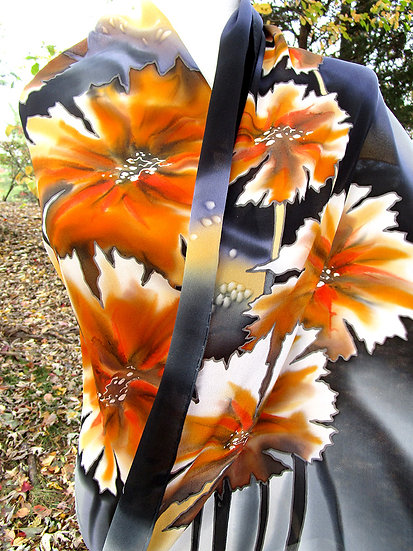 Hand Painted Silk Scarf (S-0036)