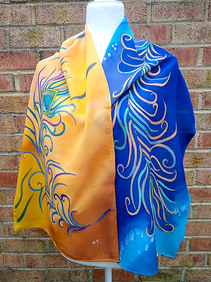 Hand Painted Silk Scarf (S-0027)
