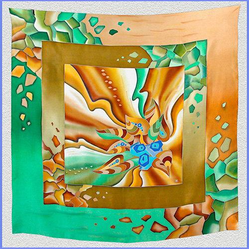 Hand painted silk shawl (SH011)