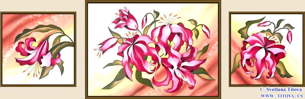 """Lillies. Silk Painting. Size 16""""h x 16""""w, 20""""h x 28""""w, 16""""h x 16""""w"""