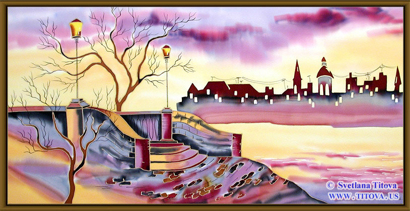 """Old City. Silk Painting. Size 16""""h x 32""""w"""
