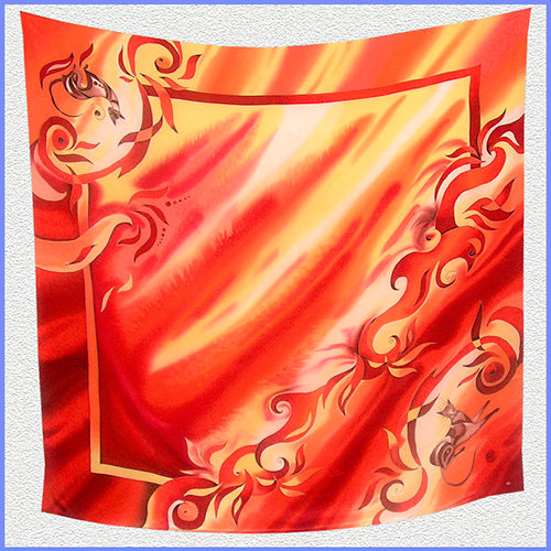 Hand painted silk shawl (SH037)