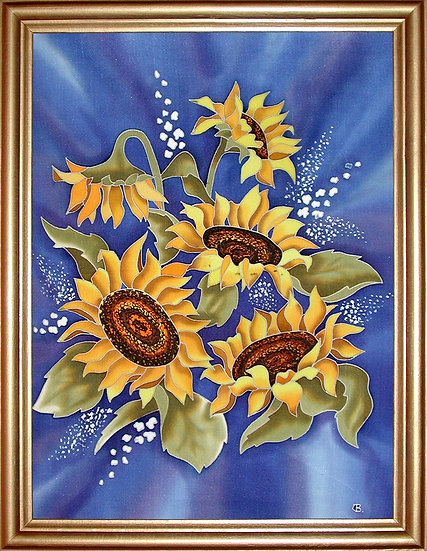 """Sunflowers. Silk Painting. Size 28""""h x 20""""w"""
