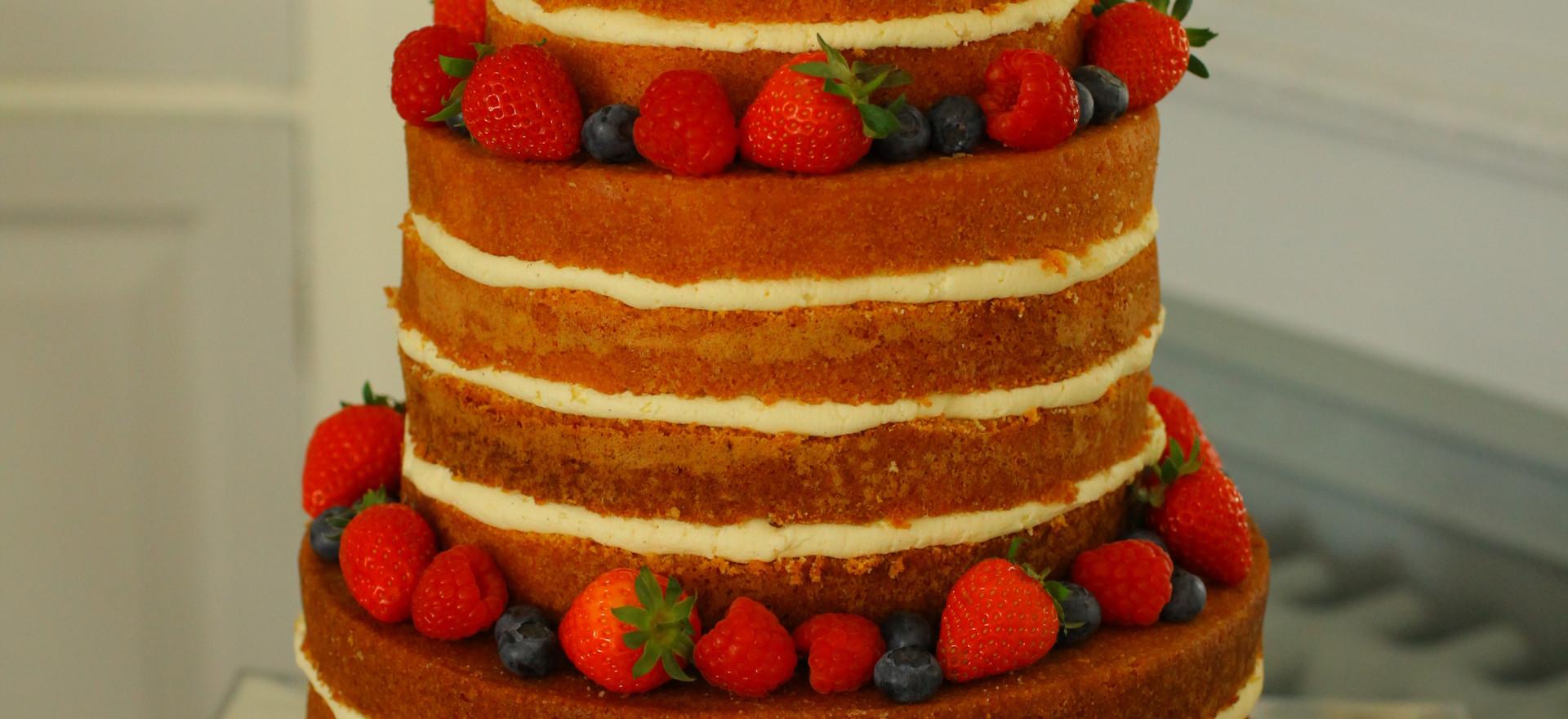 'Naked' cake with fresh summer fruits