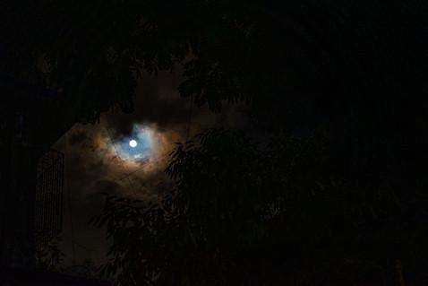 Rings around the moon, rain/snow coming soon.'