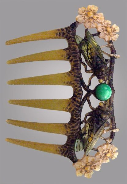 Elizabeth Bonte, hair comb, tortoise shell, women designers, Edwardian era, art nouveau, horn, edwardian fashion