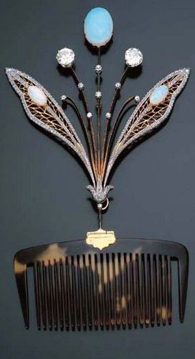 opals, diamonds, and tortoiseshell, hair, hair comb, edwardian hair, jewelry, the secret life of anna blanc.