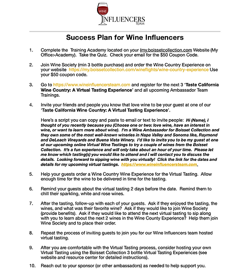 Succes Plan for Wine Influencers Virtual