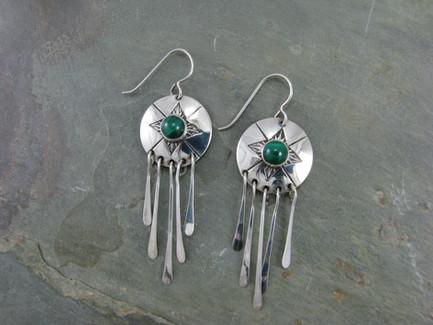 Malachite Dangle Earrings by Cliff