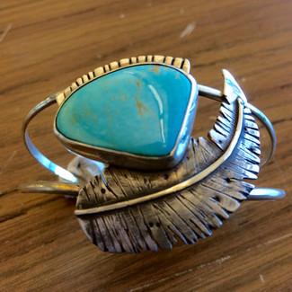 Split Wire Turquoise Feather Bracelet by Sam