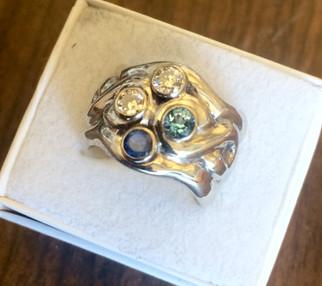 Custom White Gold Family Ring by Sam