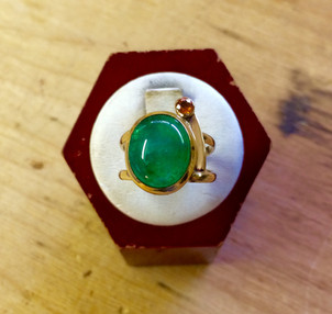 Emerald and Apricot Sapphire Ring by Sam