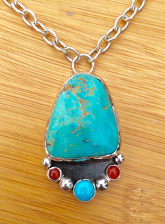 Turquoise and Coral Fixed Chain Necklace by Sam