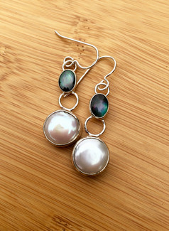 Mother of Pearl Double Drop Earrings by Sam