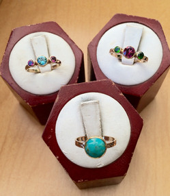 Assorted Small Gold Gem Bands by Sam