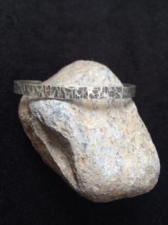 Oxidized Narrow Texture Bracelet by Sam