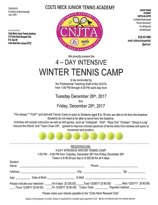 Colts Neck Racquet Club | Home | CHRISTMAS WK WINTER CAMP