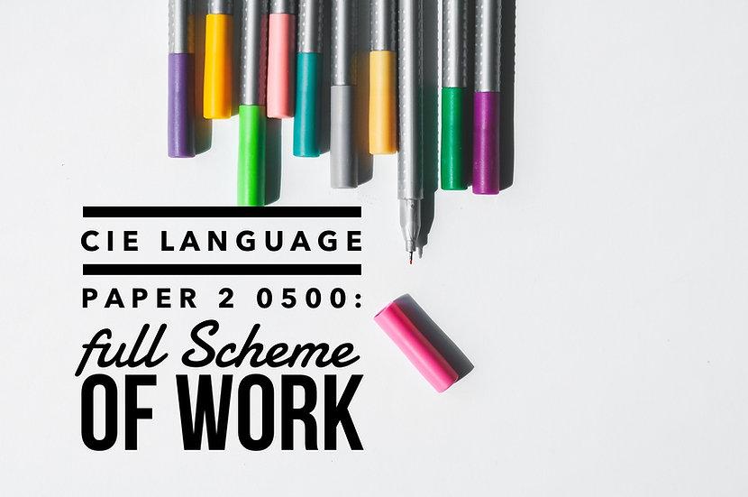 CIE 0500 Language Paper 2 Full Scheme of Work