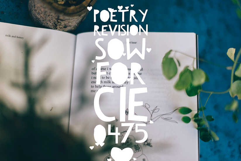 Poetry Revision SoW for CIE 0475