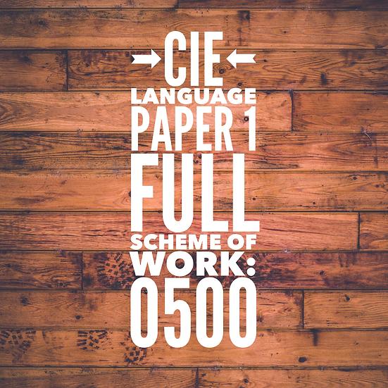 CIE 0500 Language Paper 1 Full Scheme of Work