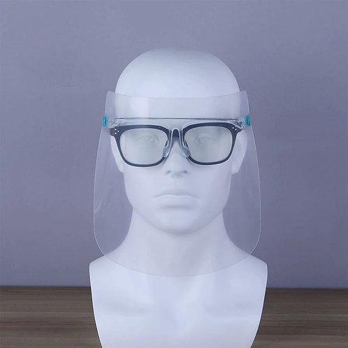 Apsauginis veido skydas su permatomu akinių rėmu