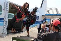 Grabación de escenas de paracaidismo de la serie Rosario Tijeras 2