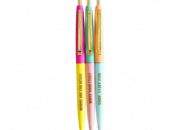 Set de 3 stylos pastel
